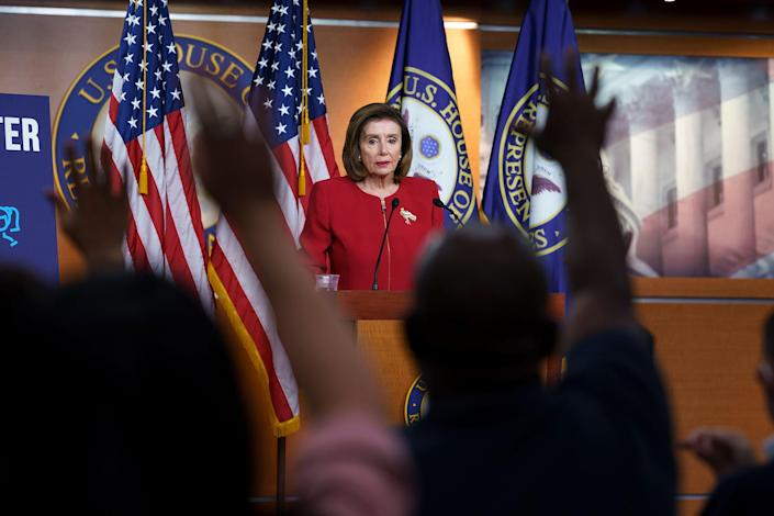 Speaker of the House Nancy Pelosi meets with reporters to discuss President Joe Biden's domestic agenda including passing a bipartisan infrastructure bill and pushing through a Democrats-only expansion of the social safety net, the at the Capitol in Washington, on Sept. 8, 2021.