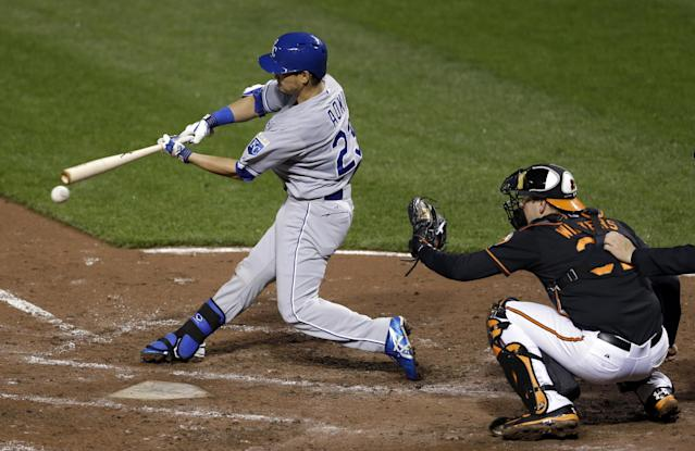 Kansas City Royals' Norichika Aoki, of Japan, singles in front of Baltimore Orioles catcher Matt Wieters in the seventh inning of a baseball game, Friday, April 25, 2014, in Baltimore. Alcides Escobar scored on the play. (AP Photo/Patrick Semansky)