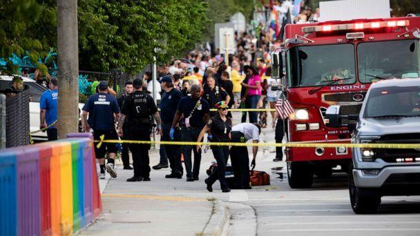 PHOTO: Police and firefighters respond after a truck drove into a crowd of people during The Stonewall Pride Parade and Street Festival in Wilton Manors, Fla., on Saturday, June 19, 2021. (Chris Day/South Florida Sun-Sentinel via AP)