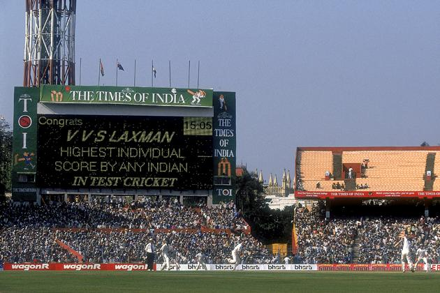 The scoreboard congratulates VVS Laxman of India for the highest individual score by any Indian in test cricket, after he surpassed the previous record of 236 held by legend Sunil Gavaskar during the Second Test match against Australia played at the Eden Gardens in Calcutta, India. India won the game by 171 runs to level the three test series at 1-1. \ Mandatory Credit: Shaun Botterill /Allsport