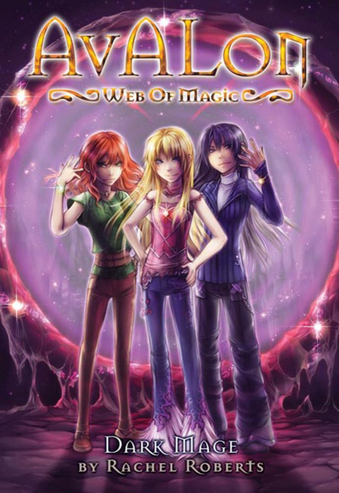 Book cover of Avalon: Web of Magic featuring the three girls, with a purple background