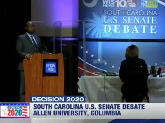 Jaime Harrison appeared at the South Carolina Senate debate with a plexiglass wall to shield from possible exposure to coronavirus from Lindsey Graham (WIS-TV)