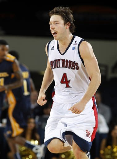 Saint Mary's guard Matthew Dellavedova (4) yells after making a basket against Drexel during the second half of their NCAA college basketball game in the first round of the DirecTV Classic in Anaheim, Calif., Thursday, Nov. 22, 2012. Saint Mary's won the game 76-64 behind Dellavedova scoring 32 points. (AP Photo/Alex Gallardo)