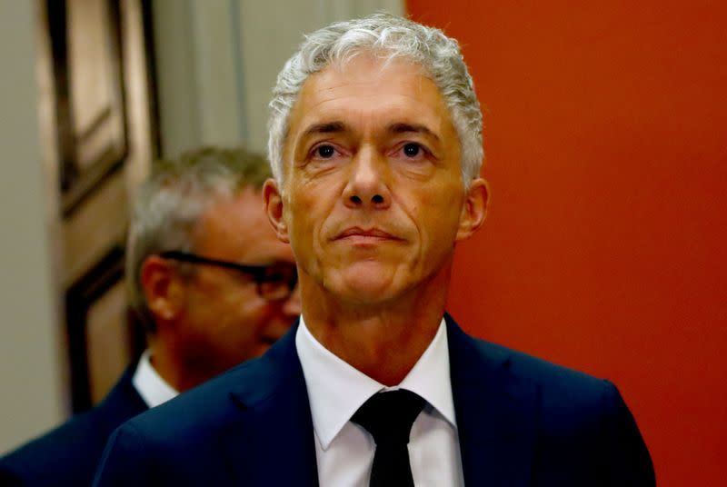 FILE PHOTO: Swiss Attorney General Lauber gives a statement after his re-election in Bern