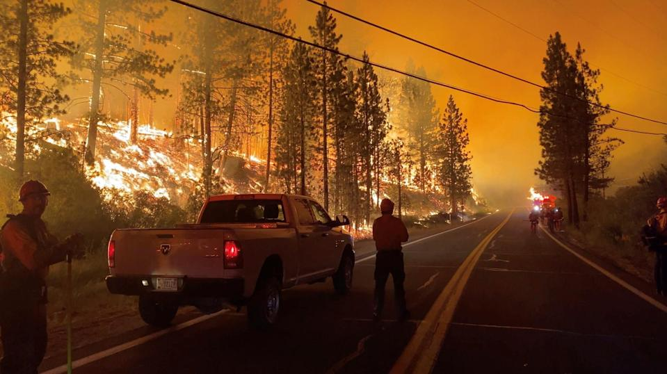 The Tamarack Fire continues to blaze as seen on July 17, 2021 in Markleeville, California.