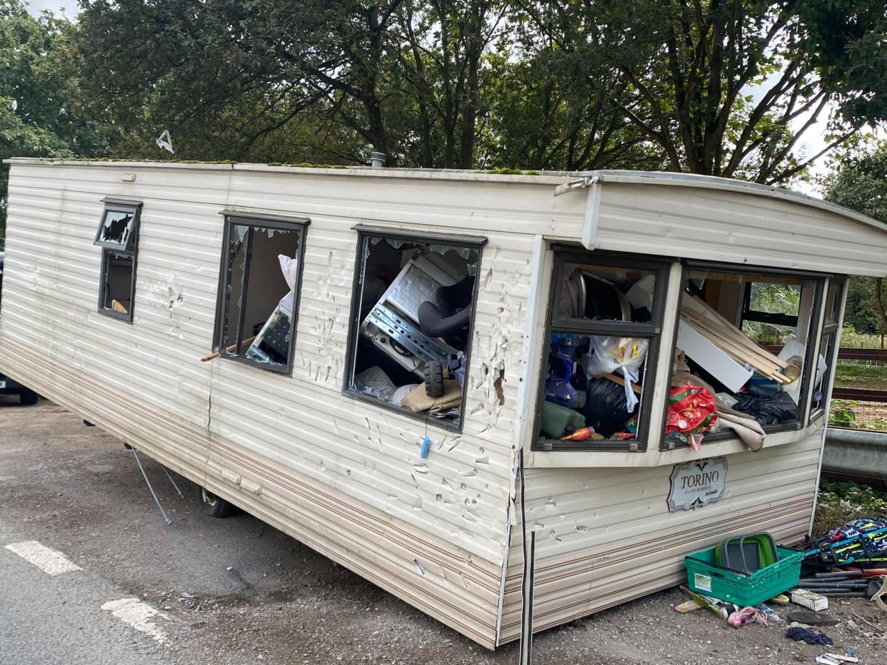 The motor home was dumped on the A40 near Beaconsfield. (SWNS)