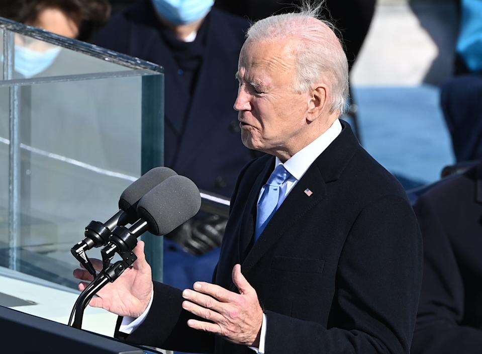 US President Joe Biden delivers his inauguration speech on January 20, 2021, at the US Capitol in Washington, DC. - Biden was sworn in as the 46th p[resident of the US. (Photo by Brendan SMIALOWSKI / AFP) (Photo by BRENDAN SMIALOWSKI/AFP via Getty Images)