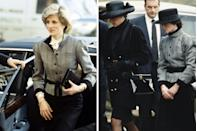 <p>Shortly before she became pregnant with Prince Harry, Princess Diana attended the opening of the Park Lane Fair in December 1983, wearing a puff-sleeved tweed jacket cinched at the waist with a black belt.</p><p>At the funeral of their father, the 8th Earl Spencer, in March 1992, the Princess of Wales opted for an all-black ensemble while Lady Sarah McCorquodale re-wore the gray herringbone jacket, buttoned up to the neck with a broad-brimmed black hat for the somber occasion.</p>