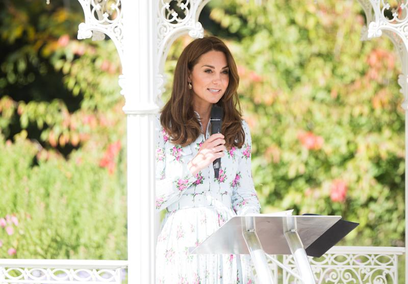 "WOKING, ENGLAND - SEPTEMBER 10: Catherine, Duchess of Cambridge attends the ""Back to Nature"" festival at RHS Garden Wisley on September 10, 2019 in Woking, England. (Photo by Samir Hussein/WireImage)"
