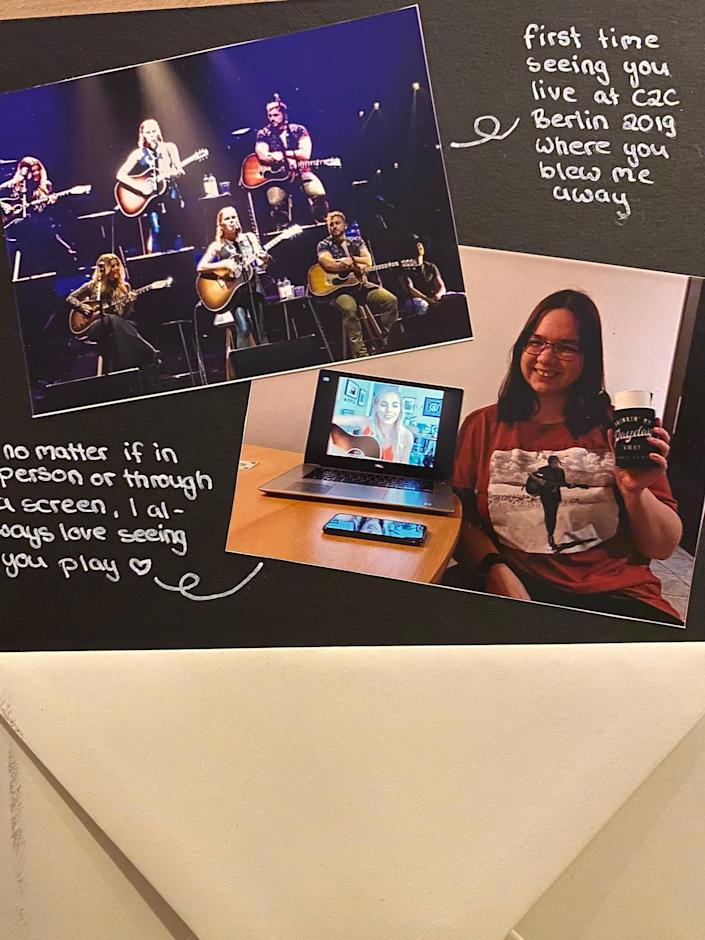 """Lauren Jenkins' fans sent her a journal of letters from photographs and concerts in September. <span class=""""copyright"""">Whitney Pastorek</span>"""