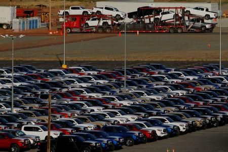 Newly assembled vehicles are seen at a stockyard of the automobile plant Toyota Motor Manufacturing of Baja California in Tijuana, Mexico