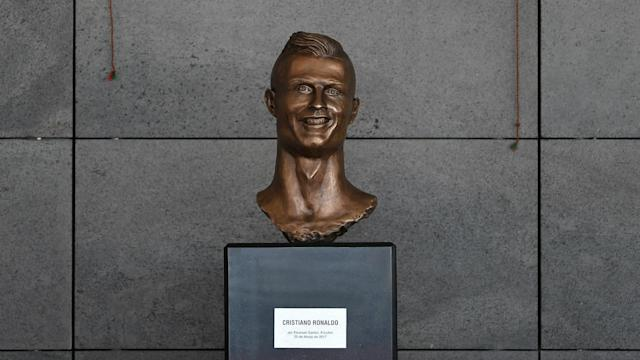 The Real Madrid and Portugal star's likeness has been updated at the airport named in his honour