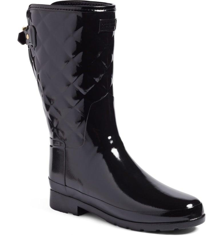 <p>These <span>Hunter Refined High Gloss Quilted Short Waterproof Rain Boots</span> ($175) are so unbelievably cute! You'll feel like you can weather any storm in these.</p>