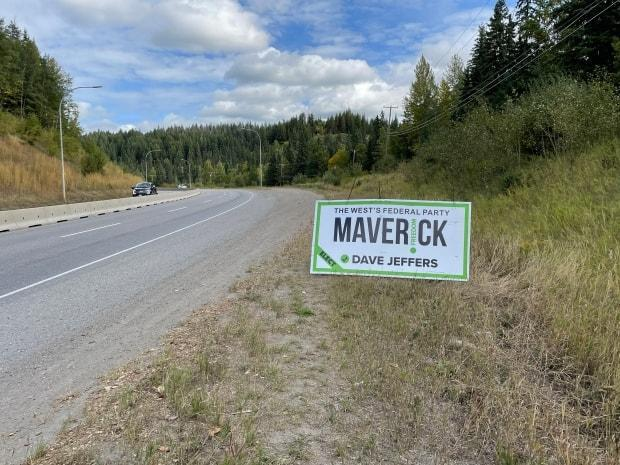 A Maverick Party sign along a Prince George highway. (Andrew Kurjata/CBC - image credit)