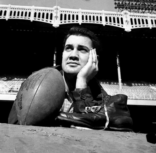 FILE - In this Dec. 27, 1958, file photo, New York Giants place kicker Pat Summerall poses with his shoe and a football during a workout at New York's Yankee Stadium. Fox Sports spokesman Dan Bell said Tuesday, April 16, 2013, that Summerall, the NFL player-turned-broadcaster whose deep, resonant voice called games for more than 40 years, has died at the age of 82. (AP Photo/Harry Harris, File)