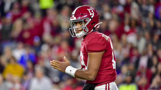 "<a class=""link rapid-noclick-resp"" href=""/ncaaf/players/274844/"" data-ylk=""slk:Tua Tagovailoa"">Tua Tagovailoa</a> is carefully weighing his options regarding the NFL draft. (AP Photo/Vasha Hunt)"