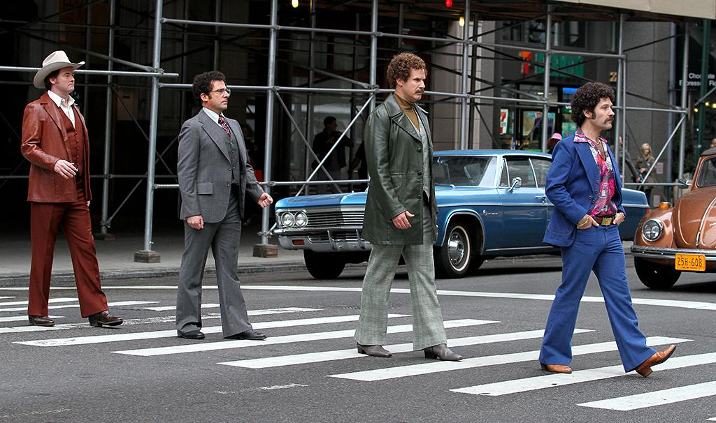 "Paul Rudd, Will Ferrell, David Koechner and Steve Carell spotted on the set of ""Anchorman: The Legend Continues"" in Manhattan, NYC.