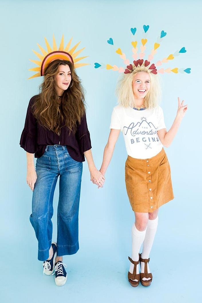 """<p>Hippie dippie these costumes aren't, because instead of imitating 70s attire they use it as inspiration. The result is seriously groovy, and great for a group costume.</p><p><strong>Get the tutorial at <a href=""""https://thehousethatlarsbuilt.com/2016/10/3-last-minute-diy-costumes-from-your-craft-closet.html/"""" rel=""""nofollow noopener"""" target=""""_blank"""" data-ylk=""""slk:The House that Lars Built"""" class=""""link rapid-noclick-resp"""">The House that Lars Built</a>.</strong></p><p><a class=""""link rapid-noclick-resp"""" href=""""https://www.amazon.com/Scunci-Slip-Grip-Bendable-Headband/dp/B01M9GVVGA?tag=syn-yahoo-20&ascsubtag=%5Bartid%7C10050.g.32906192%5Bsrc%7Cyahoo-us"""" rel=""""nofollow noopener"""" target=""""_blank"""" data-ylk=""""slk:SHOP HEADBANDS"""">SHOP HEADBANDS</a><br></p>"""