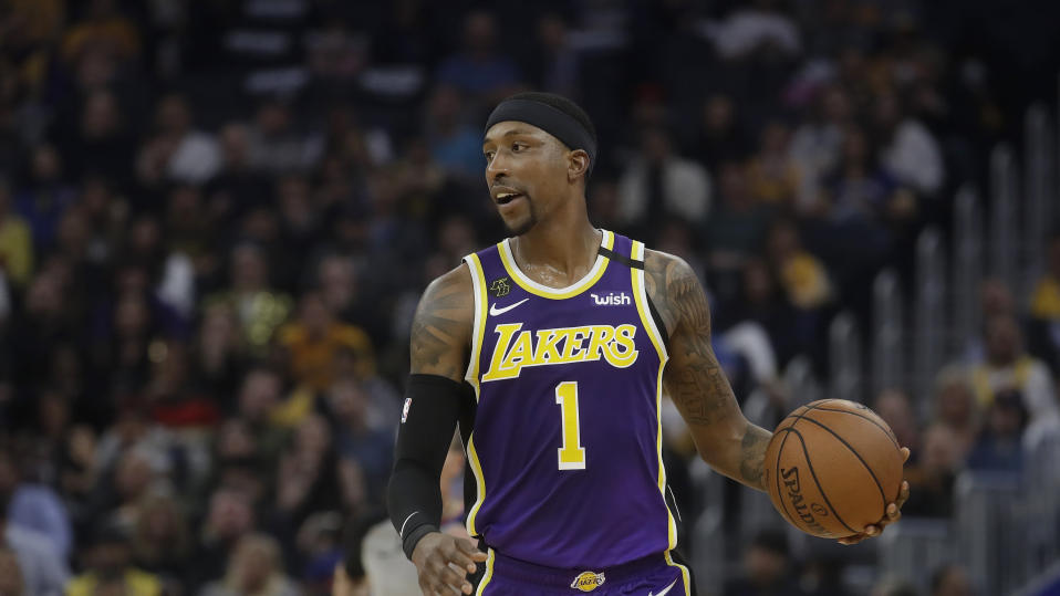 Los Angeles Lakers guard Kentavious Caldwell-Pope (1) against the Golden State Warriors during an NBA basketball game in San Francisco, Thursday, Feb. 27, 2020. (AP Photo/Jeff Chiu)