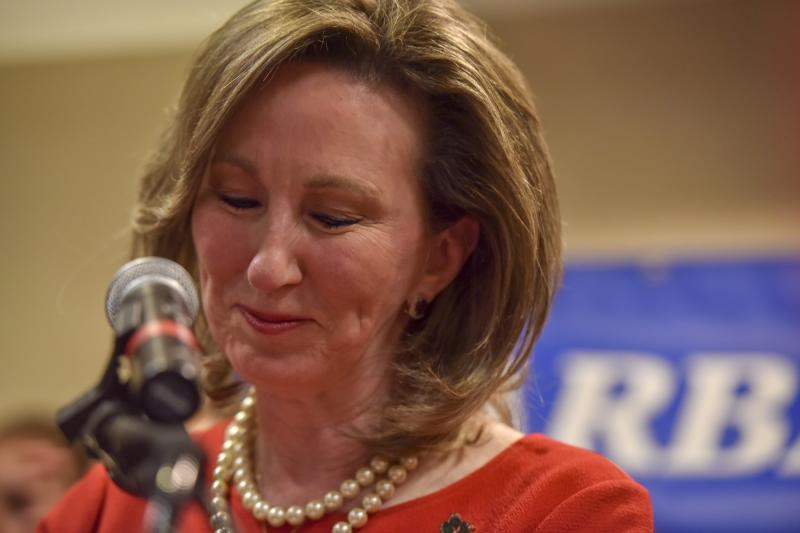 Rep. Barbara Comstock (R-Va.) delivers her concession speech after being defeated by state Sen. Jennifer Wexton (D) in Virginia's 10th District race. The NRCC spent $5 million on Comstock, confounding many Republican strategists. (The Washington Post via Getty Images)
