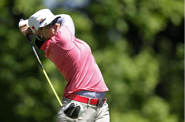 Karen Stupples, of England, hits a tee shot on the sixth hole during a first round match against Sophie Gustafson, of Sweden, in the LPGA Sybase Match Play Championship golf competition at Hamilton Farm Golf Club in Gladstone, N.J., Thursday, May 17, 2012. (AP Photo/Julio Cortez)