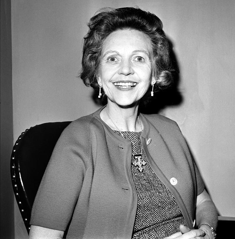 """<a href=""""http://www.senate.gov/artandhistory/history/common/briefing/women_senators.htm""""><strong>Served from:</strong></a> 1960-67 Sen. Maurine Neuberger (D-Ore.) poses on March 19, 1963 in Washington. (AP Photo/hlg)"""