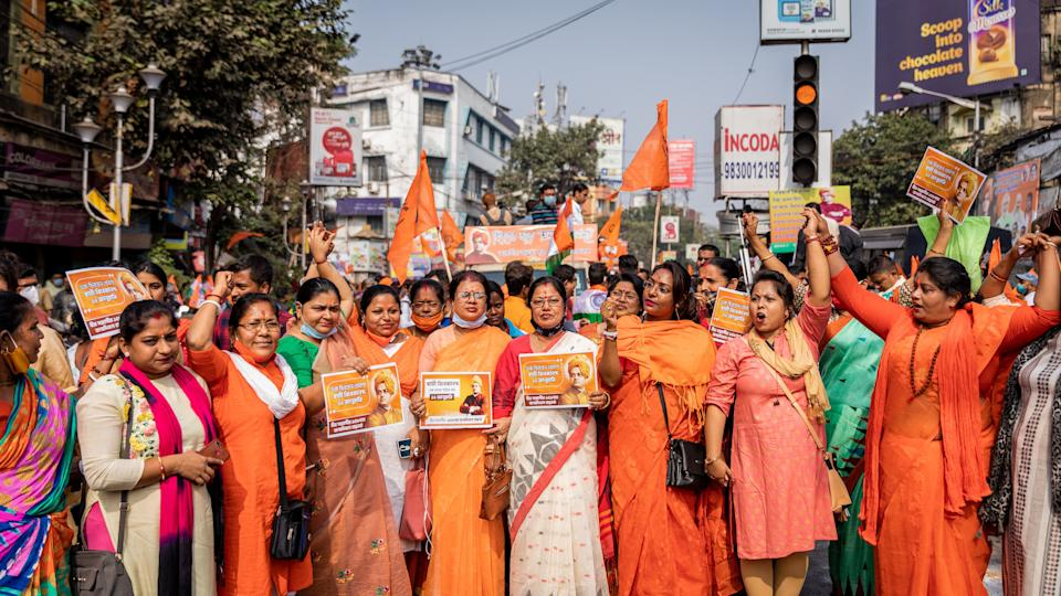 Women mostly clad in saffron joined the rally