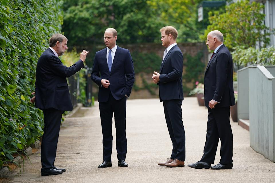 The Duke of Cambridge (second left) and Duke of Sussex (second right) talk to, Rupert Gavin, Chairman of Historic Royal Palaces (left) and Jamie Lowther-Pinkerton (right) the former Private Secretary to the Duke and Duchess of Cambridge and to Prince Harry, who sat on the statue committee, ahead of the unveiling of a statue they commissioned of their mother Diana, Princess of Wales in the Sunken Garden at Kensington Palace, London, on what would have been her 60th birthday. Picture date: Thursday July 1, 2021.