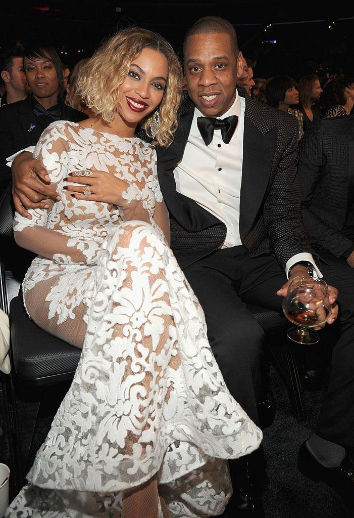 <p>Bey essentially shut down the 2014 Grammys, wearing a stunning handmade white lace gown by Michael Costello, sporting a new bob hairdo and performing 'Drunk In Love' on stage with husband, Jay-Z. </p>