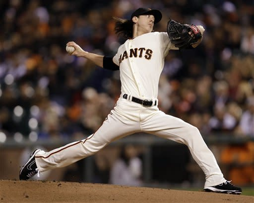 San Francisco Giants starting pitcher Tim Lincecum throws to the Arizona Diamondbacks during the first inning of a baseball game Tuesday, Sept. 25, 2012, in San Francisco. (AP Photo/Marcio Jose Sanchez)