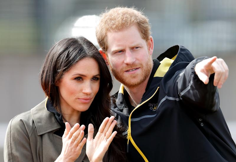 Meghan Markle and Prince Harry attend the UK Team Trials for the Invictus Games Sydney 2018 at the University of Bath on April 6, 2018 in Bath, England. (Photo by Max Mumby/Indigo/Getty Images)