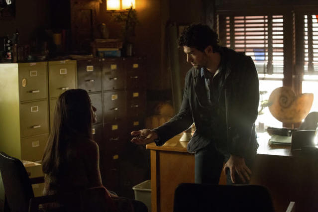 """After School Special"" -- Pictured (L-R): Kat Graham as Bonnie and David Alpay as Professor Shane"