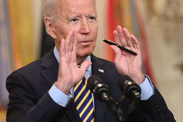US President Joe Biden speaks about the situation in Afghanistan from the East Room of the White House in Washington, DC, July 8, 2021.