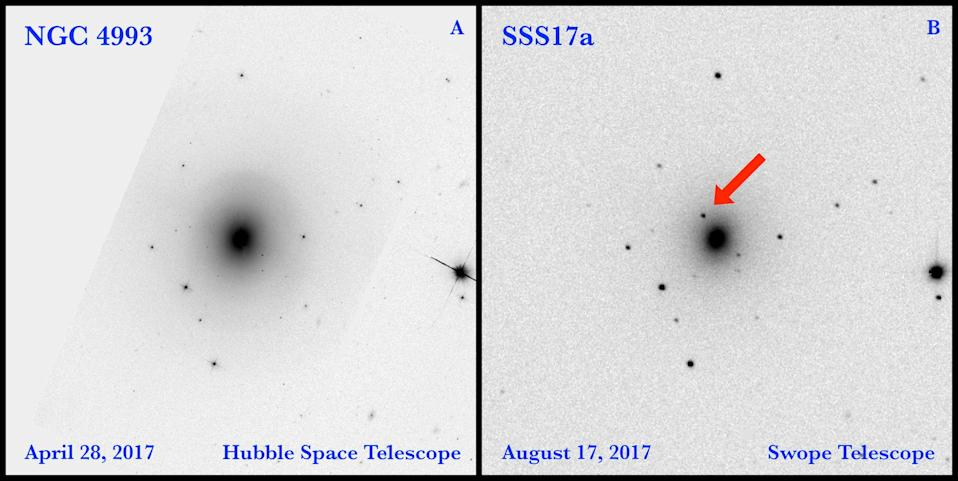 Right: An image taken on Aug. 17, 2017, with the Swope Telescope at the Las Campanas Observatory in Chile shows the light source generated by a neutron-star merger in the galaxy NGC 4993. Left: In this photo taken on April 28, 2017, with the Hubble Space Telescope, the neutron star merger has not occurred and the light source, known as SSS17a, is not visible. <cite>D.A. Coulter, et al.</cite>