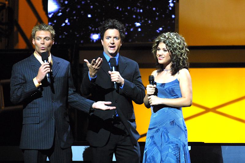 "Ryan Seacrest, Brian Dunkleman and ""American Idol"" winner Kelly Clarkson."