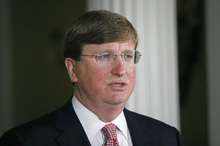 Mississippi Republican Gov. Tate Reeves delivers a televised address prior to signing a bill retiring the last state flag in the United States with the Confederate battle emblem, at the Governor's Mansion in Jackson, Miss., Tuesday, June 30, 2020. (AP Photo/Rogelio V. Solis, Pool)