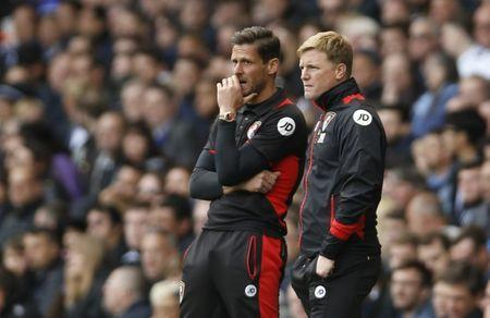 Britain Soccer Football - Tottenham Hotspur v AFC Bournemouth - Premier League - White Hart Lane - 15/4/17 Bournemouth manager Eddie Howe and assistant manager Jason Tindall Action Images via Reuters / Paul Childs Livepic