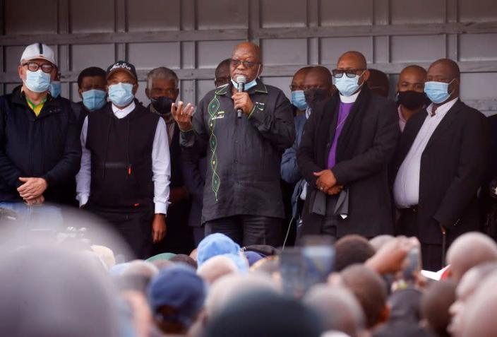Former South African president Jacob Zuma speaks to supporters who gathered at his home in Nkandla