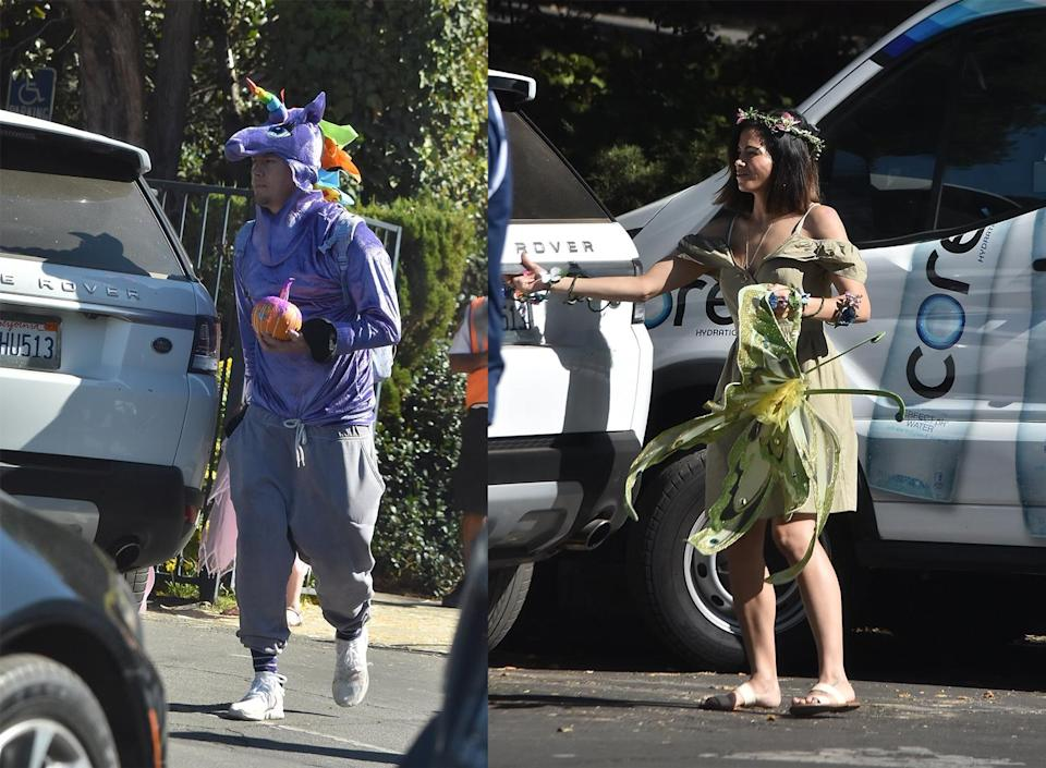 <p>What fun parents! Four-year-old Everly Tatum's dad and mom went all out dressing up for a Halloween carnival at her preschool. (Photo: BackGrid) </p>