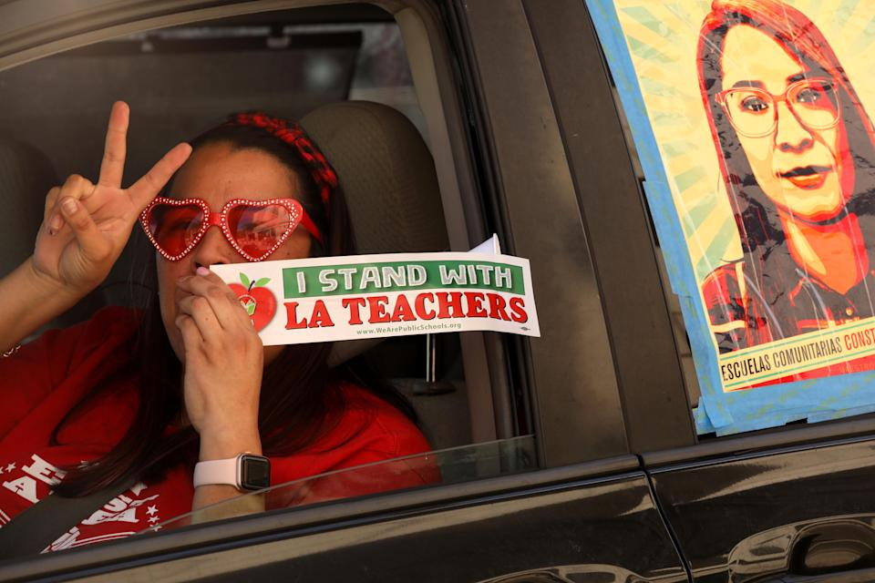 Lorraine Quinones, a fourth-grade teacher at Multnomah Elementary School, in a car-caravan protest this month to not force Los Angeles County schools to reopen before it's safe. (Photo: Genaro Molina via Getty Images)