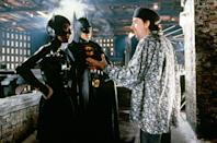 "<p>Michelle Pfeiffer and Michael Keaton get direction from director Tim Burton on the set of <em>Batman Returns</em>. Keaton was reportedly against Pfeiffer being cast in the movie, as <a href=""https://www.hollywoodreporter.com/heat-vision/batman-michael-keaton-vetoed-michelle-pfeiffer-role-1989-film-1220139"" rel=""nofollow noopener"" target=""_blank"" data-ylk=""slk:they had previously dated"" class=""link rapid-noclick-resp"">they had previously dated</a>.</p>"