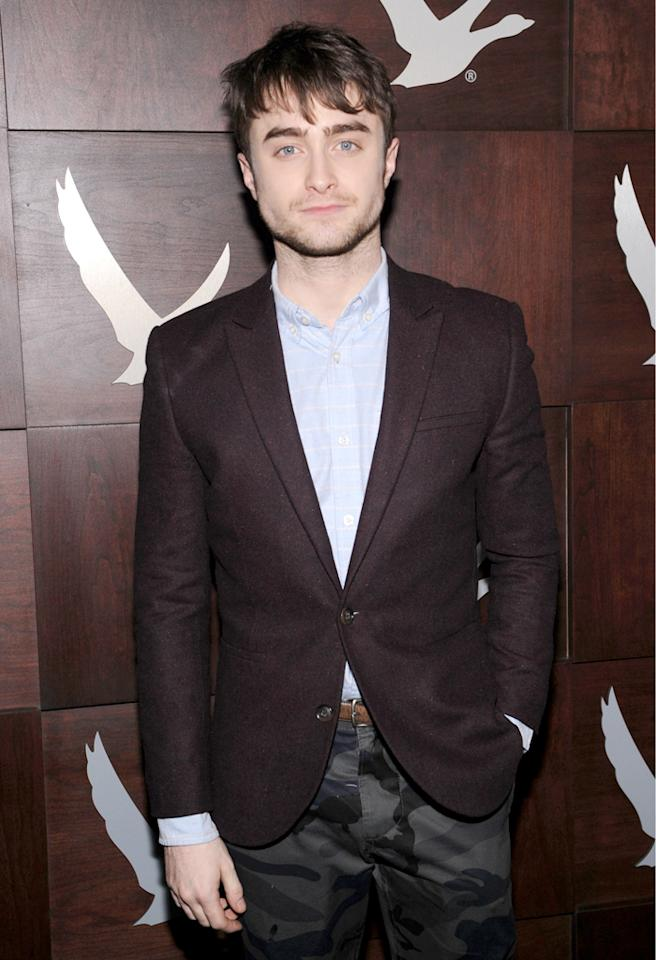 """PARK CITY, UT - JANUARY 18:  Actor Daniel Radcliffe attends the Grey Goose Blue Door """"Kill Your Darlings"""" Cocktail Party on January 18, 2013 in Park City, Utah.  (Photo by Jamie McCarthy/Getty Images for Grey Goose)"""
