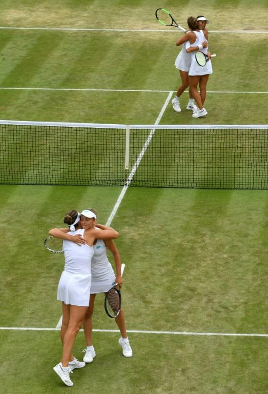 Hsieh Su-Wei and Barbora Strycova (TOP) celebrate after beating Elise Mertens and Aryna Sabalenka (BOTTOM) (AFP Photo/GLYN KIRK)