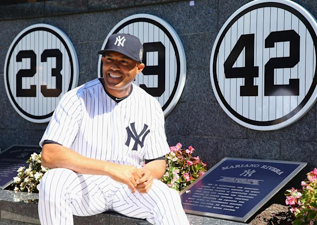 NEW YORK, NY - SEPTEMBER 22: Mariano Rivera #42 of the New York Yankees poses next to his retired number in Monument Park before the interleague game against the San Francisco Giants on September 22, 2013 at Yankee Stadium in the Bronx borough of New York City. Rivera was honored by the New York Yankees today with Mariano Rivera Day. (Photo by Elsa/Getty Images)
