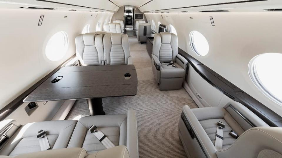The G700's interior comes in more luxurious finishes, but this is the first fully outfitted interior on its pre-production series. - Credit: Courtesy Gulfstream