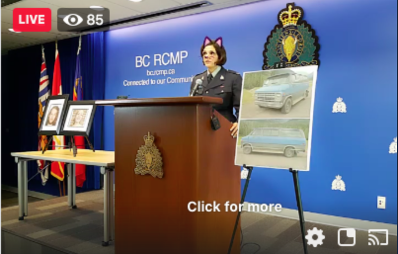 Canadian police are apologizing after the cat filter activated during a press conference regarding a double murder.