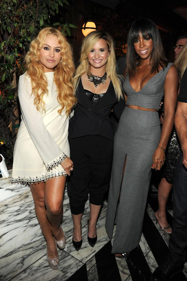 """Judges Paulina Rubio, Demi Lovato, and Kelly Rowland attend Fox's """"The X Factor"""" Season 3 premiere party at Ciccone Restaurant on September 5, 2013 in West Hollywood, California."""