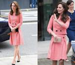 <p>Middleton first wore this red Eponine London skirt set in March 2016 to visit with the XLP Project and then again a year later to attend a film launch with the Heads Together campaign. </p>