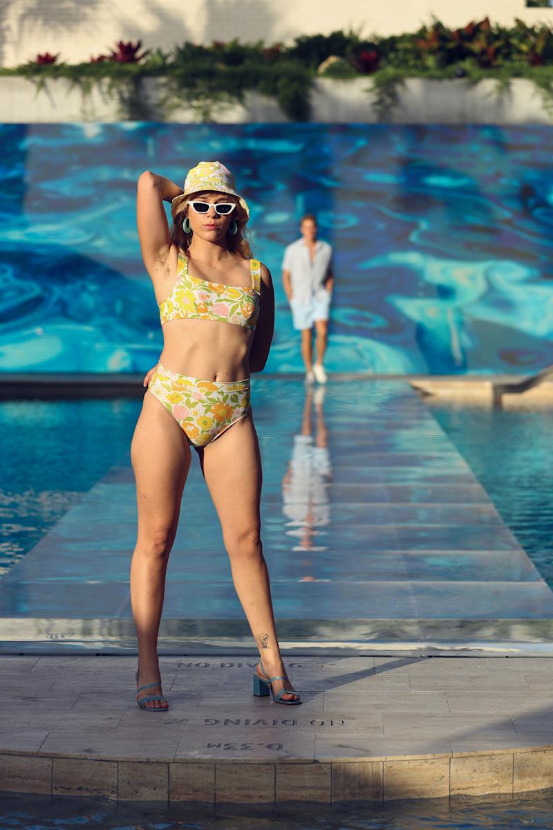 A model wears the Faithfull Marta Bikini Set, $189 and matching Bucket Hat $89 from THE ICONIC Summer Show '19
