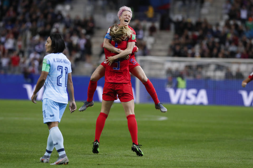 Samantha Mewis #3 of USA celebrates her goal with Megan Rapinoe #15 during the Americans' win over Thailand at the World Cup. (Getty)